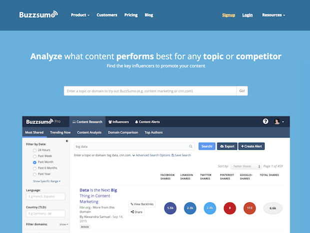 buzzsumo social media marketing tool